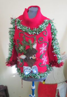 Hysterical Furry Hairdoo Rudolph Reindeer by tackyuglychristmas, $65.00