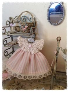 1/12 Sweet baby girl dress crochet and hanger by LeMiniaturediBea
