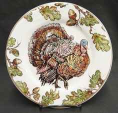 "Pier 1 Imports Autumn Oak Turkey Salad Plate Acorns Leaves 8.75"" Very Good HTF #Pier1"