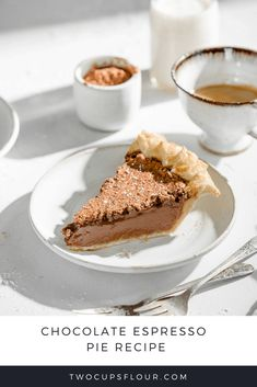 Chocolate Espresso Pie is a silky chocolate pie with coffee tones bakes in a homemade flaky pie crust. Easy chocolate pie recipe you will devour in no time. Chocolate Espresso, Chocolate Pies, Chocolate Cream, Espresso Coffee, Coffee Coffee, Coffee Break, Morning Coffee, Easy Chocolate Pie Recipe, Chocolate Recipes