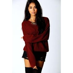 Boohoo Katherine Oversized Jumper ($20) ❤ liked on Polyvore featuring tops, sweaters, wine, crop top, boyfriend sweater, slouchy sweater, red crop top and striped sweater