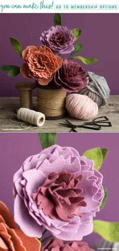 Felt Peonies with SVG Cut File - www.liagriffith.com #diyinspiration #diyidea #diyideas #diyproject #diyprojects #felt #feltcraft #feltflowers #madewithlia