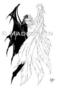Angel Devil tattoo design by madpuffins