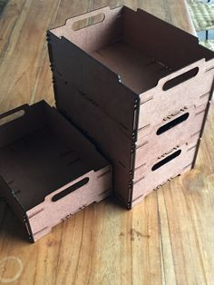 Stackable storage boxes made from 3mm MDF board. Cut with Epilog Zing 40. No glue required. Perfect snap on joints which hold nice and firm: