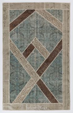 5x8 Ft Brown Beige and Light Blue Color Patchwork by SplendidRugs