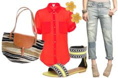 love the bag, blouse, jeans, and sandals. those earrings are hideous, but my ears aren't pierced anyway.
