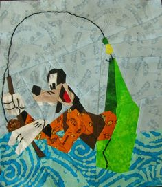 """Goofy Gone Fishing  by Alida / TweLoQ 12"""" x 10.5"""" (finished) paper pieced & embroidery"""