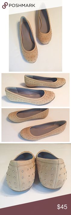Cole Haan Tan Suede Studded Flats These light tan suede flats are extremely comfortable with an extra padded insole. Super cute tiny silver studs add interest. Very good quality and in great condition. You will wear these all the time! Cole Haan Shoes Flats & Loafers