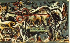 """The She-Wolf"" Artist: Jackson Pollock, Completion Date: 1943, Style: Abstract Expressionism."