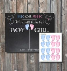 PRINTABLE Baby Gender Voting Chalkboard 16x20-Guess Baby Gender-Baby Shower Gender Reveal-Baby Shower Game-Boy or Girl–Instant Download-GR1