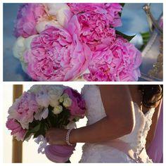 pink peonies bridal bouquet destin, florida wedding by Princess Wedding Co