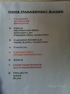 Home Management Binder Table of Contents
