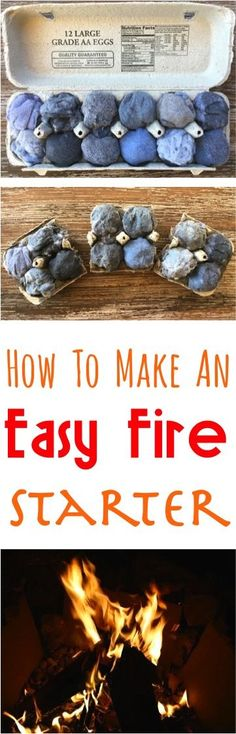 Camping Hacks and Ideas! How to Make DIY Fire Starters for your next Camp trip or backyard fire pit! Such an easy way to start a fire quickly!