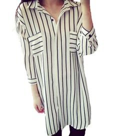 6799a0351a0b ZANZEA Women's Turndown Collar Loose Striped Long Tops Blouse Shirt Dress  White Striped UK 16 Collar