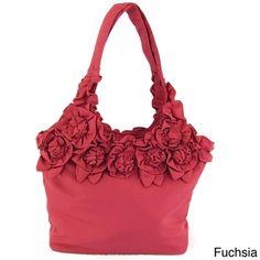 Joy Susan Fabric Rose Handbag | Overstock.com
