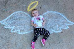 Sweet angel baby sidewalk chalk art