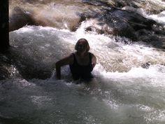 Taking a break after climbing Dunn's River Falls in Jamaica