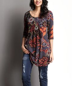 Charcoal Floral Empire-Waist Tunic
