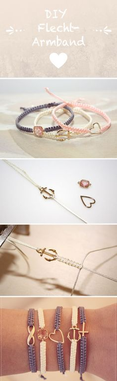 DIY Flechtarmband – knüpfe dein eigenes DIY Armband ♥ Freundschaftsarmband … DIY braided bracelet – make your own DIY bracelet ♥ friendship bracelet ♥ DIY jewelry Diy Jewelry Unique, Diy Jewelry Making, Bracelet Making, Jewelry Crafts, Diy Bracelet, Heart Bracelet, Jewellery Diy, Braided Bracelets, Macrame Bracelets