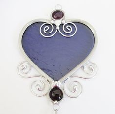 Stained Glass Heart Suncatcher with Prism Purple by JasGlassArt