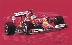 Alonso in the Ferrari F14  Pen&ink and markers on red archival paper (no red was used to create this piece) 28cm x 17.5cm © Paul Chenard 2014  Original available, as are limited editions.