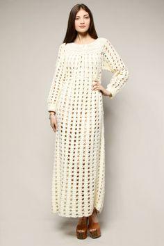 Shop Vintage | 70s Hand Crochet Maxi Dress | Thrifted & Modern