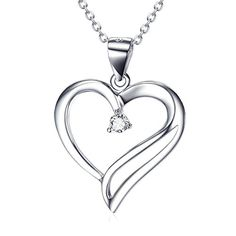 """Sterling Silver You Are The Only One In My Heart Pendant Necklace for Women, Rolo Chain 18"""""""