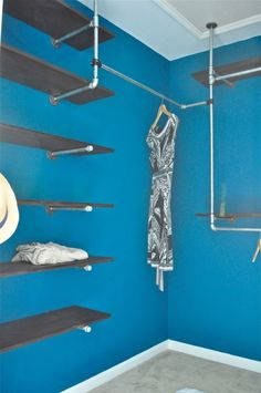 Still on the pipe furniture...   This one is a full closet but i gives some shelving ideas. Again the issue is too many holes i the apartment's wall. May do it if i decide to stay in the flat for longer.   http://www.domestiphobia.net/2012/08/15/how-to-build-an-industrial-chic-closet-organizer-part-1-aka-my-closet-is-cooler-than-me/