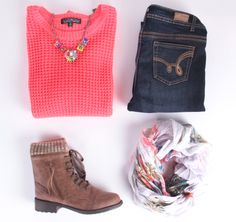 bright pink knit sweater, white and pink scarf, dark rinse skinny jeans, brown boots