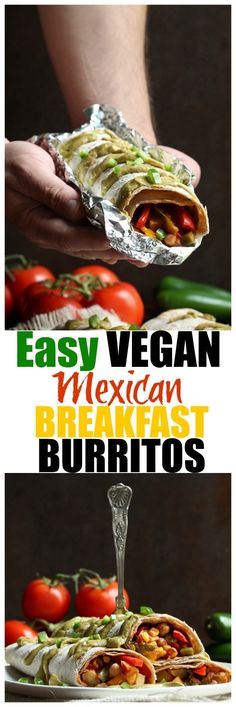 Breakfast Burritos With Salsa Easy Vegan Mexican Breakfast Burritos. Vegan, vegetarian Mexican breakfast burritos that are healthy, low-fat, oil-free and kid-friendly. Low Carb Vegan Breakfast, Vegetarian Breakfast, Vegan Breakfast Recipes, Vegan Recipes, Mexican Breakfast, Breakfast Hash, Free Breakfast, Vegan Ideas, Vegan Breakfast Burritos