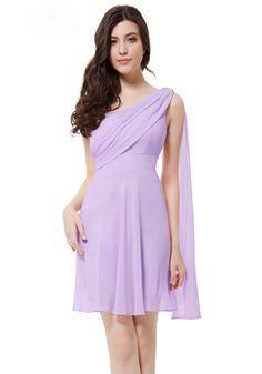 One Shoulder Short/Mini Light Purple Chiffon A-Line Bridesmaid Dress USD $90.99