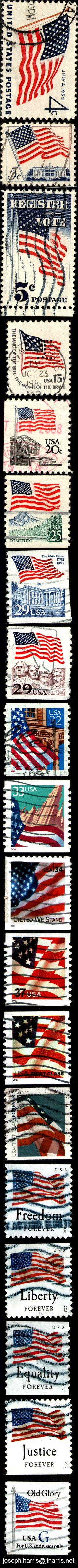 I've noticed that Pinterest lends itself to the long, vertically formatted images. So here's US Flag stamps from about 1960 until now.