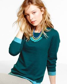 I really like this, especially if paired with a nice statement necklace (not too big, but enough to 'finish' the outfit). Love that this can totally go into the office but I could also pair it with cords or jeans for a casual look. I like the teal or gray.  Color-Block Crewneck