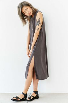 Silence + Noise Thigh-Slit Tank Midi Dress - Urban Outfitters
