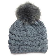 Inverni Cashmere Cable-Knit Beanie Hat w/Fur Pom Pom