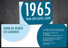 Einladungen - Einladung zum 50. Geburtstag: Jahr 1965 - ein Designerstück von individuelle-einladung bei DaWanda
