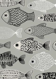 Grey Forest limited edition giclee print , fish design, by EloiseRenouf on Etsy Fish Patterns, Textures Patterns, Print Patterns, Illustration Art, Illustrations, Lovely Creatures, Fish Art, Printmaking, Giclee Print