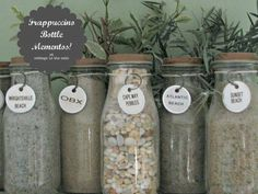 Collection of sand from beaches visited....in Frappuccino bottles
