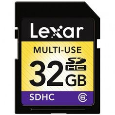 #Lexar Multi-Use SDHC Memory Card - 32GB - Class 6  Reliably captures and stores photos, music, and more Designed for use in SDHC-enabled digital cameras and devices Built-in erasure prevention switch keeps data safe Speed-rated up to Class 6 Five-year manufacturer's limited warranty