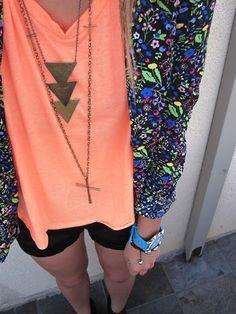 neon floral blazer and bright orange T