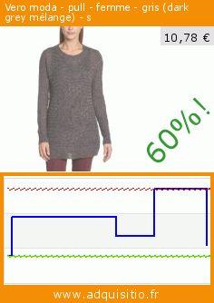 Vero moda - pull - femme - gris (dark grey mélange) - s (Vêtements). Réduction de 60%! Prix actuel 10,78 €, l'ancien prix était de 26,95 €. https://www.adquisitio.fr/vero-moda/pull-femme-gris-dark-grey-25