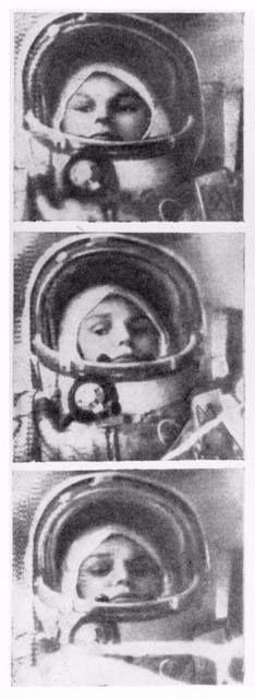 Valentina Tereshkova, the first woman in space, inside Vostok 6, 16th June 1963.