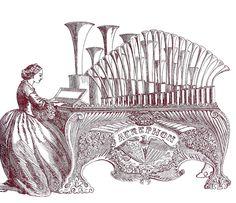 Free Vintage Digital Stamp - Antique Pipe Organ