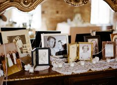 displaying family photos at reception is a nice way to add a personal touch to the wedding, and even honor loved ones who could not be there to share your special day