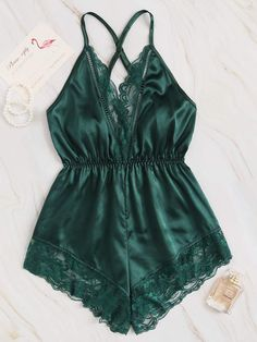 To find out about the Lace Trim Criss Cross Satin Romper Bodysuit at SHEIN, part of our latest Sexy Lingerie ready to shop online today! Jolie Lingerie, Cute Lingerie, Lingerie Outfits, Plus Size Lingerie, Lingerie Sleepwear, Nightwear, Women Lingerie, Satin Cami Top, Satin Shorts