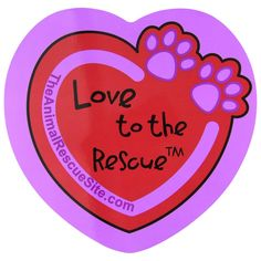 Purple+Paw+Love+To+the+Rescue™+Heart+Car+Magnet+at+The+Animal+Rescue+Site