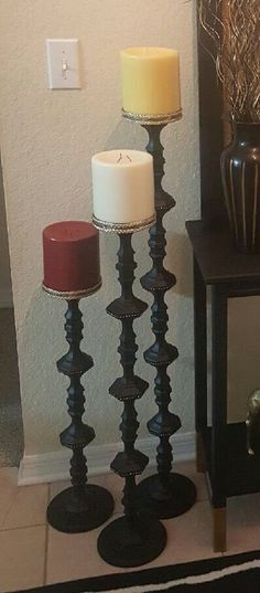DIY Candle Holders Ideas That Can Beautify Your Room Floor Candle Holders made from Dollar Tree candle holders.Floor Candle Holders made from Dollar Tree candle holders.