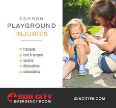 Being back at school means a rise in playground injuries. While some only result in bruises, cuts, and scrapes, serious injuries can also occur. It is crucial to keep an open communication between school officials and parents in the event of an accident. If the injury is serious, make sure you bring them to Sun City Emergency Room right away!  www.suncityer.com | #PlaygroundFun #BacktoSchool  Sun City ER East: 915.206.5254 | Sun City ER West: 915.600.6894 Pediatric Urgent Care, Sun City, Sprain, Serious Injury, Pediatrics, Playground, Back To School, Communication, Safety
