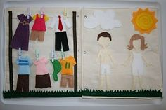 clothes line combined with paper dolls- quiet book Diy Quiet Books, Baby Quiet Book, Felt Quiet Books, Tutorial Quiet Book, Diy For Kids, Crafts For Kids, Bee Crafts, Book Libros, Sensory Book