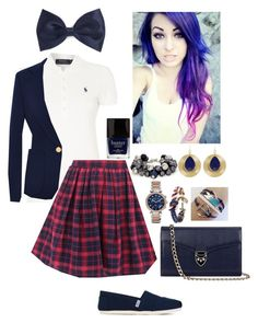 """""""Private School Rebel"""" by bekahliz ❤ liked on Polyvore featuring Forever 21, Polo Ralph Lauren, Derek Lam, TOMS, The Limited, Aspinal of London, Towne & Reese, Michael Kors, Butter London and Brooks Brothers"""